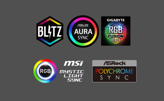 Support T-FORCE BLITZ / ASUS AURA SYNC / GIGABYTE RGB Fusion / MSI Mystic Light Sync software